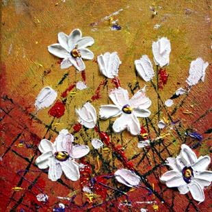 Art: WHITE FLOWERS Impasto Oil Textured by Artist LUIZA VIZOLI