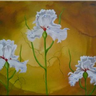 Art: ORIGINAL abstract  PAINTING WITH FLOWERS,acrylic on canvas  by Artist Nataera