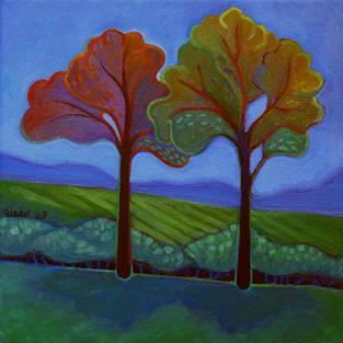 Art: Two Trees by Artist Elizabeth Fiedel