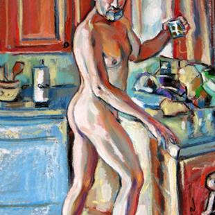 Art: Glass of water Nude male by Artist Luda Angel