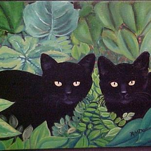 Art: KITTENS IN THE GARDEN by Artist Rosemary Margaret Daunis