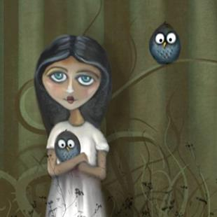 Art: She Loves Her Owls by Artist Charlene Murray Zatloukal