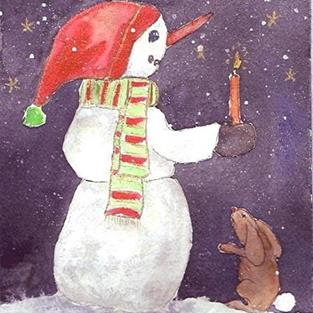 Art: Bunny and Snowman by Artist Ulrike 'Ricky' Martin