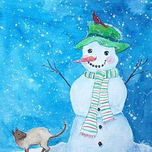Art: Snowman and Cat  (sold) by Artist Ulrike 'Ricky' Martin
