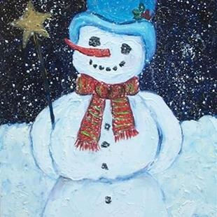 Art: Jolly Snowman  (sold) by Artist Ulrike 'Ricky' Martin