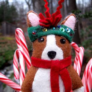 Art: Minnie A Christmas Corgi Original Art Doll Ornament by Artist Cathy Santarsiero