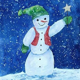 Art: Snowman holding Star  ( sold) by Artist Ulrike 'Ricky' Martin
