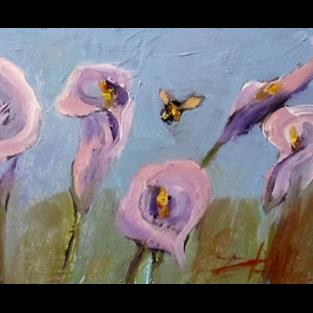 Art: Lilies with Bee by Artist Delilah Smith