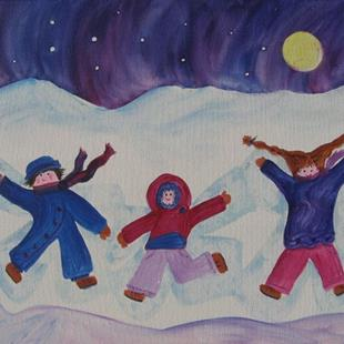 Art: Snow Angels (sold) by Artist Kathy Crawshay