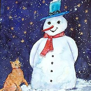 Art: Curious Kitty with Snowman (sold) by Artist Ulrike 'Ricky' Martin