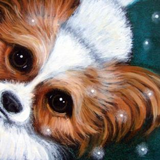 Art: PAPILLON DOG - 1ST SNOW by Artist Cyra R. Cancel