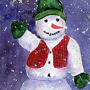 Art: Smiling Snowman  (sold) by Artist Ulrike 'Ricky' Martin