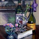 Art: Wine Bottles, Book and Glasses by Artist Heather Sims