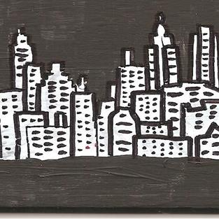 Art: Black and White New York City Night #2 by Artist Nancy Denommee