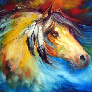 Art: BLUE THUNDER WAR PONY by Artist Marcia Baldwin