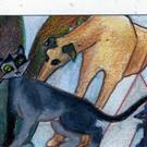 Art: Orig ACEO Cat Rat/Mouse Greyhound Trois Brody by Artist Judith A Brody