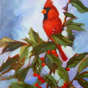 Art: Winter Cardinal in Holly Tree with Snow by Artist Patricia  Lee Christensen