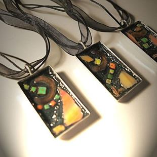 Art: Mosaic Pendants- Sunrise, Symmetry and The Bright Side by Artist Karen Lynn Evans