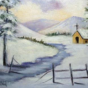 Art: Church in the Snow by Artist Barbara Haviland