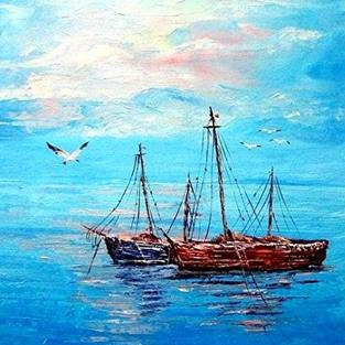 Art: Old Boats - sold by Artist Ulrike 'Ricky' Martin