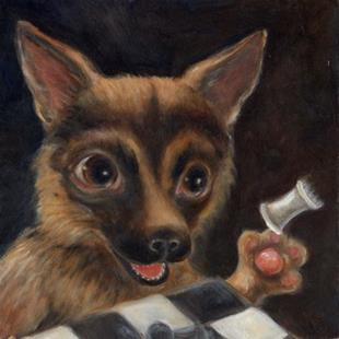 Art: Moose - Chess Player Extraordinaire by Artist Vicky Knowles