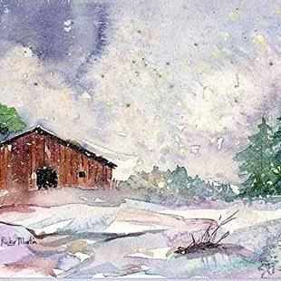 Art: Cabin in the Snow  (sold) by Artist Ulrike 'Ricky' Martin