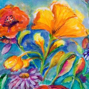 Art: Flowers on Blue by Artist Delilah Smith