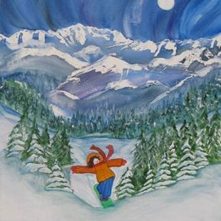 Art: Afternoon Snowboard (sold) by Artist Kathy Crawshay