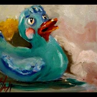 Art: Blue Rubber Duckie by Artist Delilah Smith