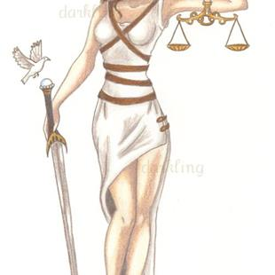 Art: Lady Justice pin up by Artist Emily J White