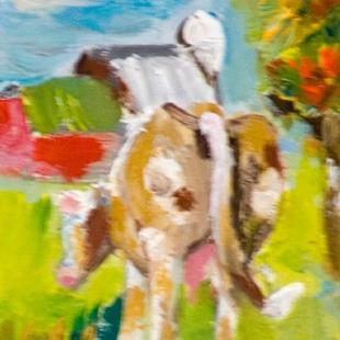 Art: Cow and Apple Tree Aceo by Artist Delilah Smith