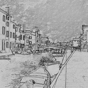 Art: Grey and Gloomy Burano by Artist Deanne Flouton