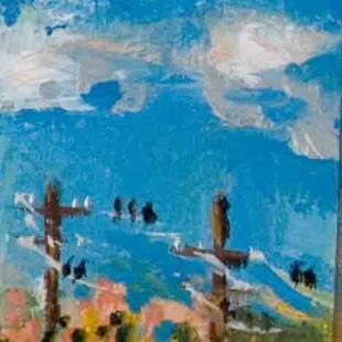 Art: Birds on a Wire Aceo by Artist Delilah Smith
