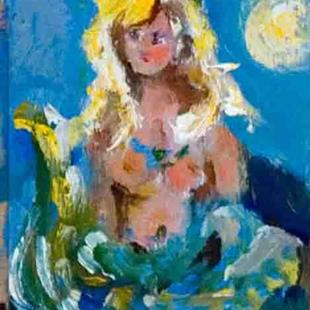 Art: Mermaid and the Moon Aceo by Artist Delilah Smith