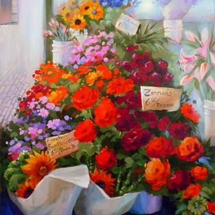 Art: Seattle Pike Place Market: Mixed Bouquets ~ Sold by Artist Patricia  Lee Christensen