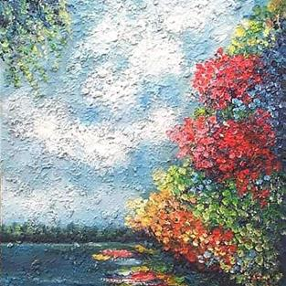 Art: River View  (sold) by Artist Ulrike 'Ricky' Martin