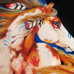 Art: INDIAN WAR PONY ~ COMMISSIONED by Artist Marcia Baldwin