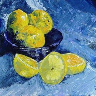Art: Lemons in Blue by Artist Tracey Allyn Greene