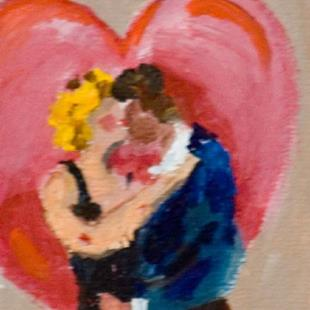 Art: Valentine Kiss Aceo by Artist Delilah Smith