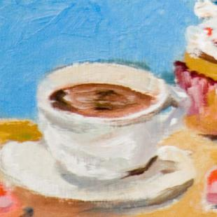 Art: Coffee and Cupcake Aceo by Artist Delilah Smith
