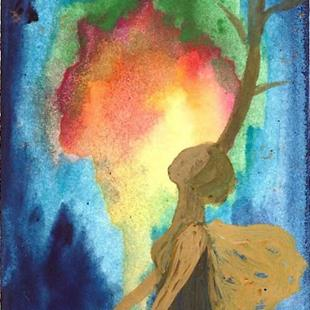 Art: ACEO Tree#18 original from artist watercolor/acrylic by Artist Nata Romeo ArtistaDonna