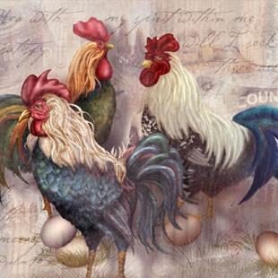 Art: Rooster Trio by Artist Alma Lee