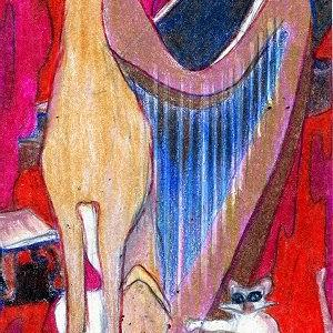 Art: ACEO Original Night Music Cat, Greyhound, Brody by Artist Judith A Brody