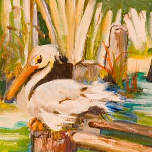 Art: Snoozing Pelican-sold by Artist Delilah Smith