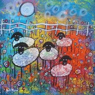 Art: Merry Sheep In The Flowers by Artist Juli Cady Ryan