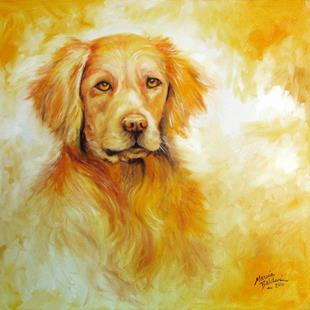 Art: SADIE WOO GOLDEN RETRIEVER by Artist Marcia Baldwin