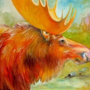 Art: MOOSE STUDY POP ART by Artist Marcia Baldwin