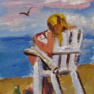 Art: Beach Read Aceo SOLD by Artist Delilah Smith