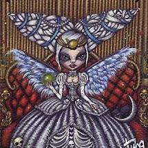 Art: The Priestess from the Morbidly Adorable Tarot - ACEO by Artist Misty Monster (Benson)