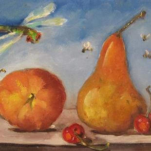Art: Peach and Pear by Artist Delilah Smith